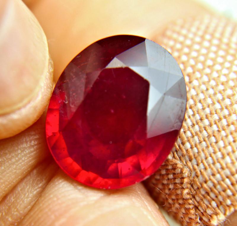 CERTIFIED - 17.43 Carat Top Fiery, Best Red Ruby - Gorgeous