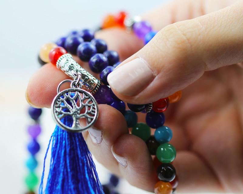 Prayer Beads ,Lapis and Gemstones  Tree of life CF 477