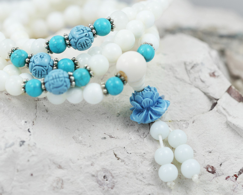 Prayer Beads  White ,Agates and Gemstones  TCF 481