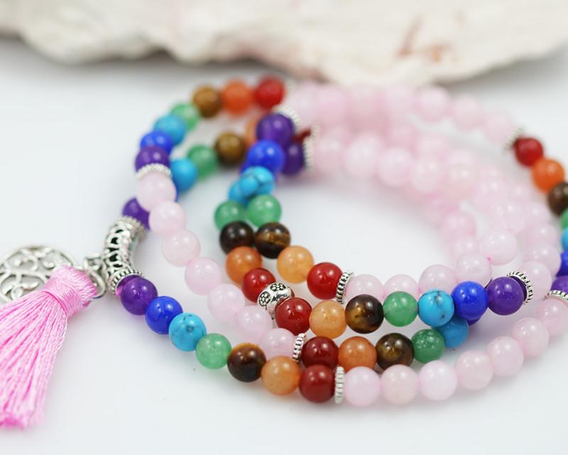 Prayer Beads  Rose Quartz and Gemstones  Tree of life CF 485