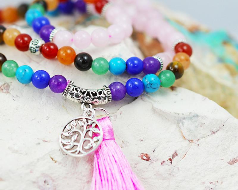 Prayer Beads  Rose Quartz and Gemstones  Tree of life CF 486