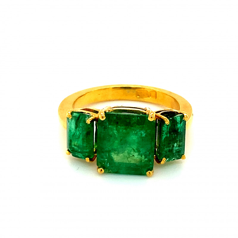 Emerald 6.25ct Solid 22K Yellow Gold Multistone Ring   Size 7.50