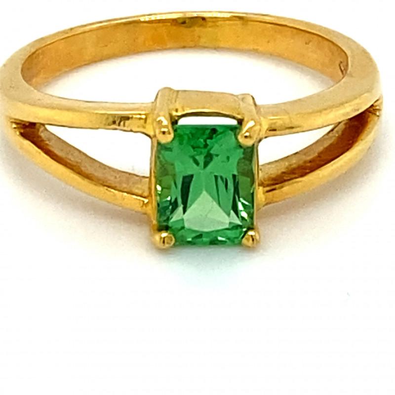 Tsavorite Garnet 1.28ct Solid 18K Yellow Gold Solitaire Ring           Size