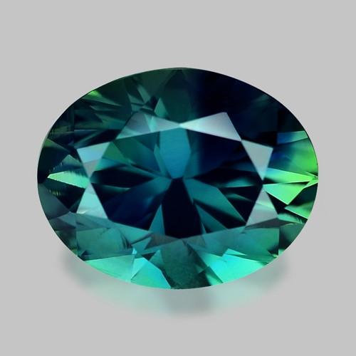 Exquisite precision oval cut natural parti-colour sapphire.
