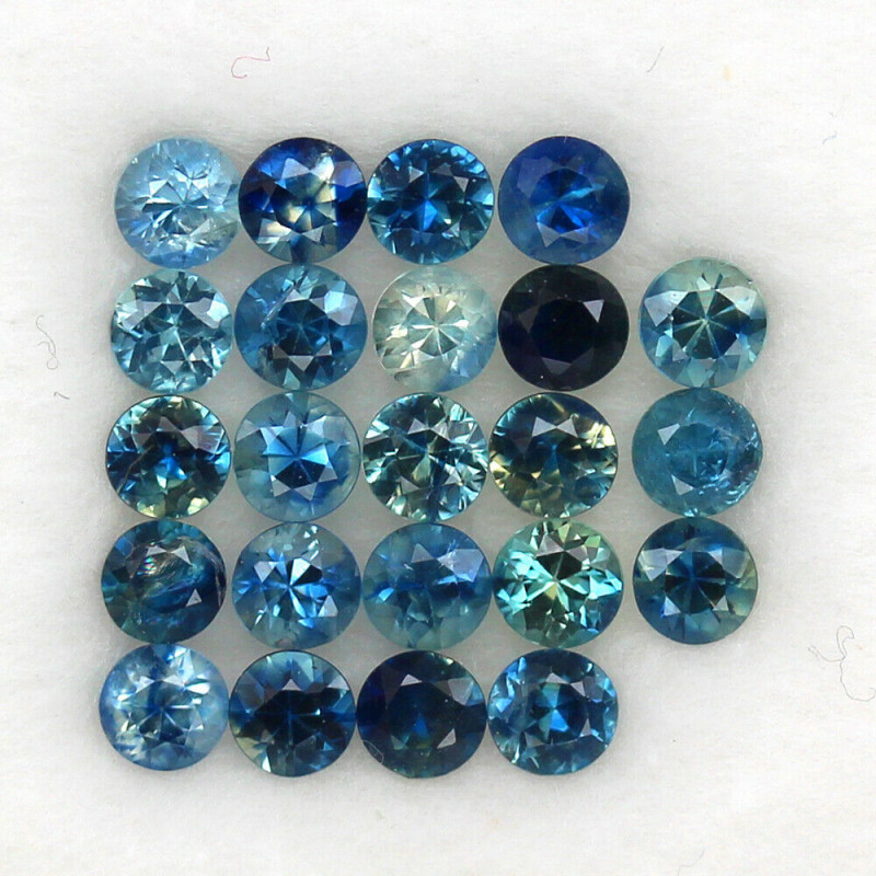 4.12 ct. 3.3 MM. DIAMOND CUT MULTI COLOR SAPPHIRE NATURAL GEMSTONE 23PCS.