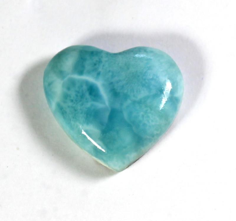 Biggest 27mm Natural Sky Blue Larimar Heart Cabochon 27x29x9mm 11grams