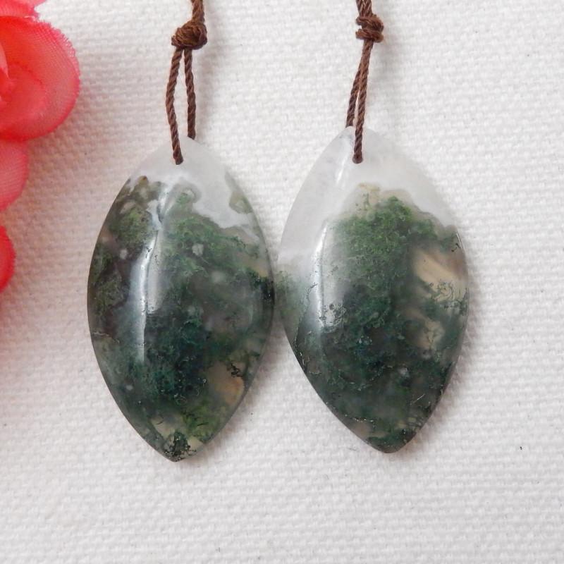 61cts Beautiful Moss Agate Earrings gemstone earrings beads, stone for earr