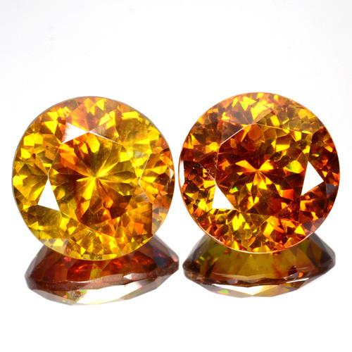 ~RARE~ 23.10 Cts Natural Sphalerite Sunset Orange Round PAIR Spain