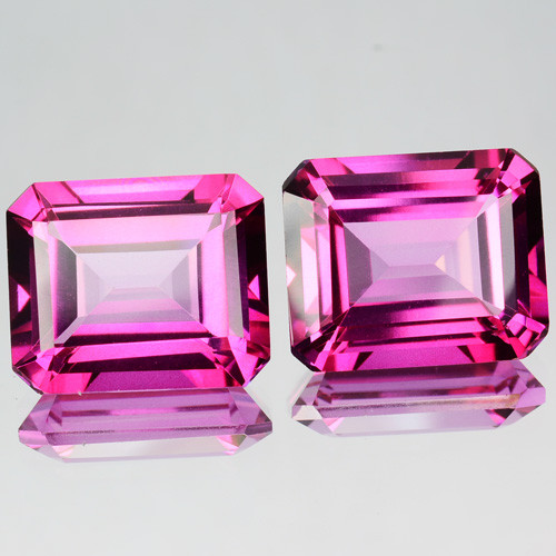6.12 Cts Candy Pink Natural Topaz 9x7mm Emerald Cut 2 Pcs Brazil