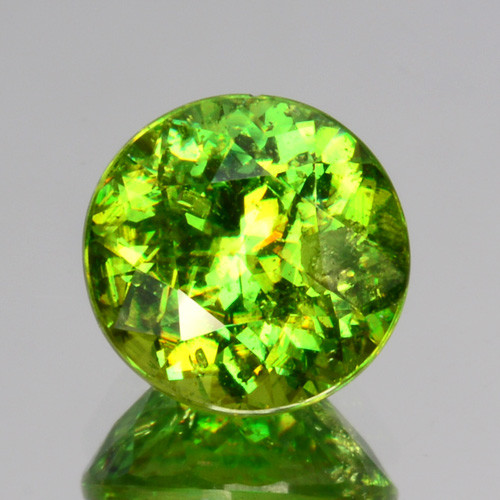 ~SIZZLING~ 1.56 Cts Natural Sphene Radium Green 7mm Round Cut Russia