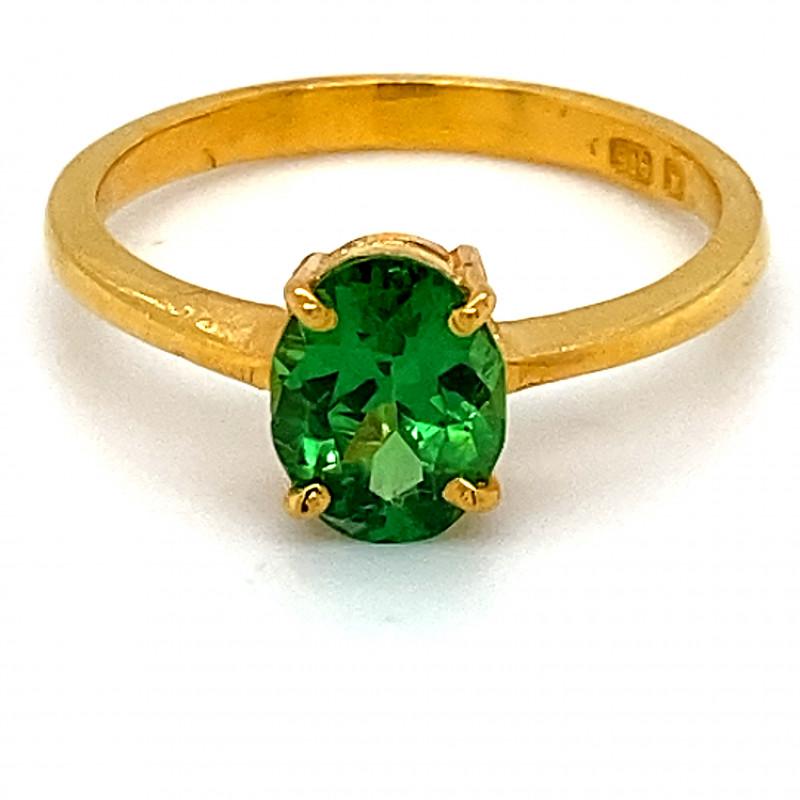 Tsavorite Garnet 1.60ct Solid 22K Yellow Gold Solitaire Ring    Size 7.25