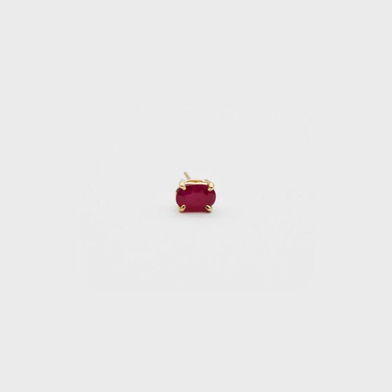 Ruby Single Stud Earring - Set in 14k Yellow Gold