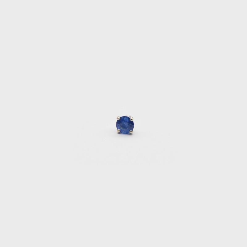 Blue Sapphire Single Stud Earring - Cornflower Blue Sapphire - Set in 14k W