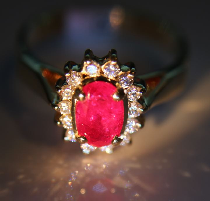 Burmese Ruby 1.57ct Natural Diamonds Solid 18K Yellow Gold Halo Ring      S