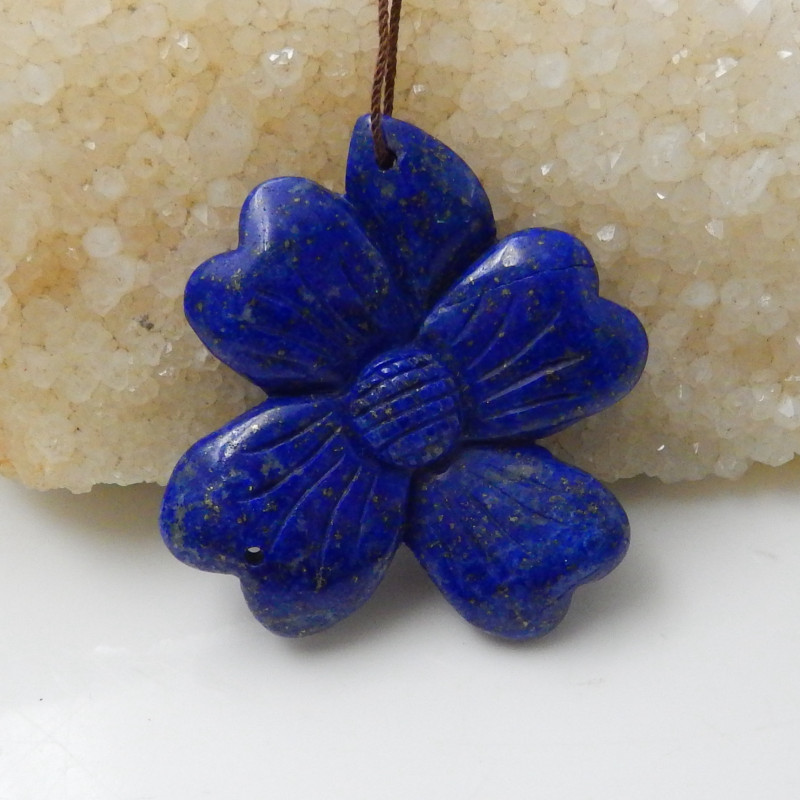 91.3cts New lapis lazuli carved flower pendant beads healing stone F607