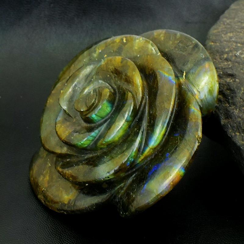 Genuine 1493.00 Cts Green Flash Labradorite Carved Rose