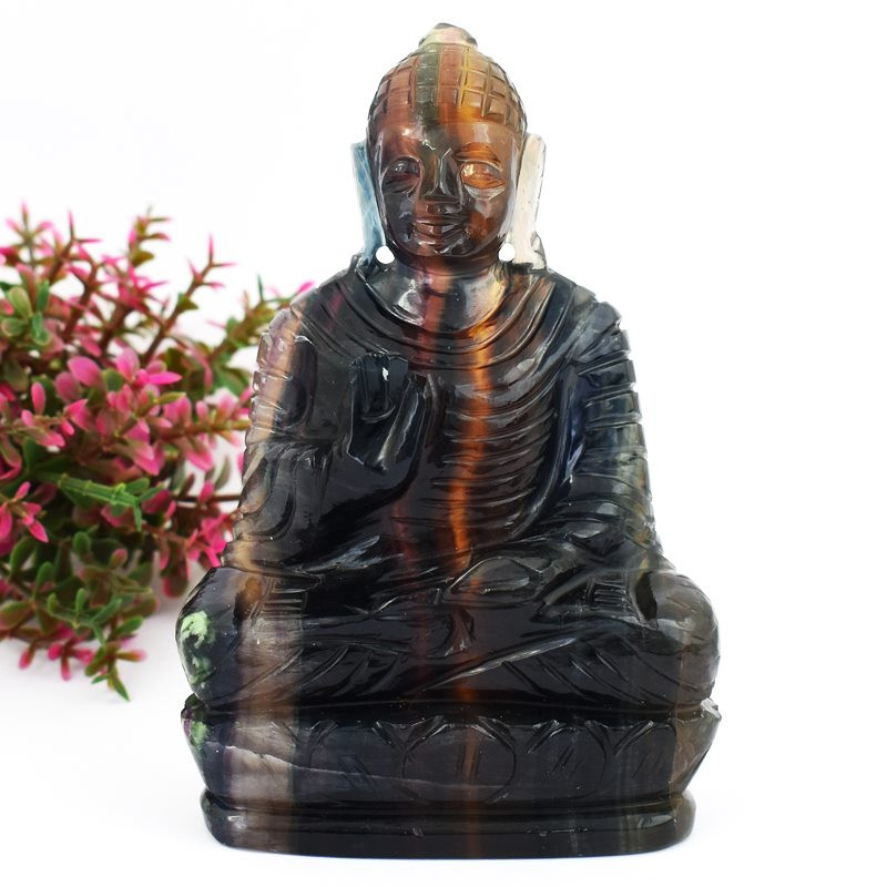 Genuine 1412.00 Cts Multicolor Fluorite Carved Lord Buddha