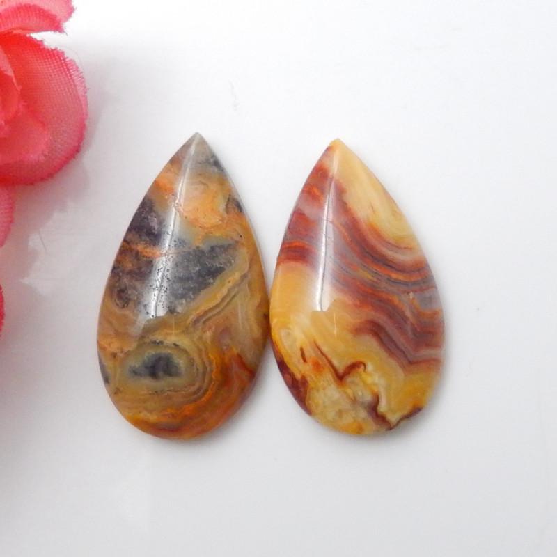 33.5Cts Natural agate cabochon pair,healing stone F614
