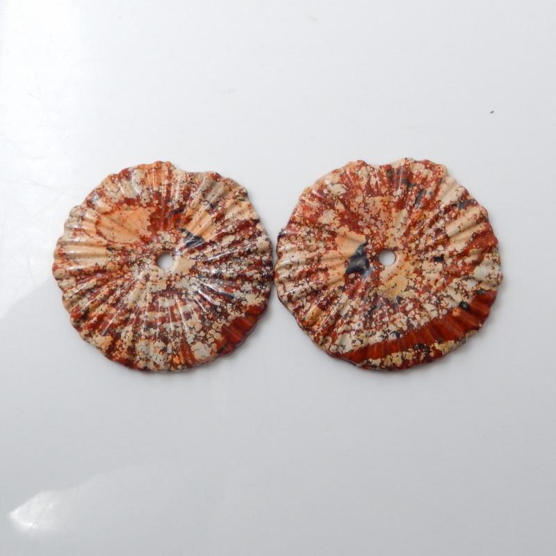 121.5cts New Jasper Cabochon Beads, 2pcs Gemstone Jasper F613