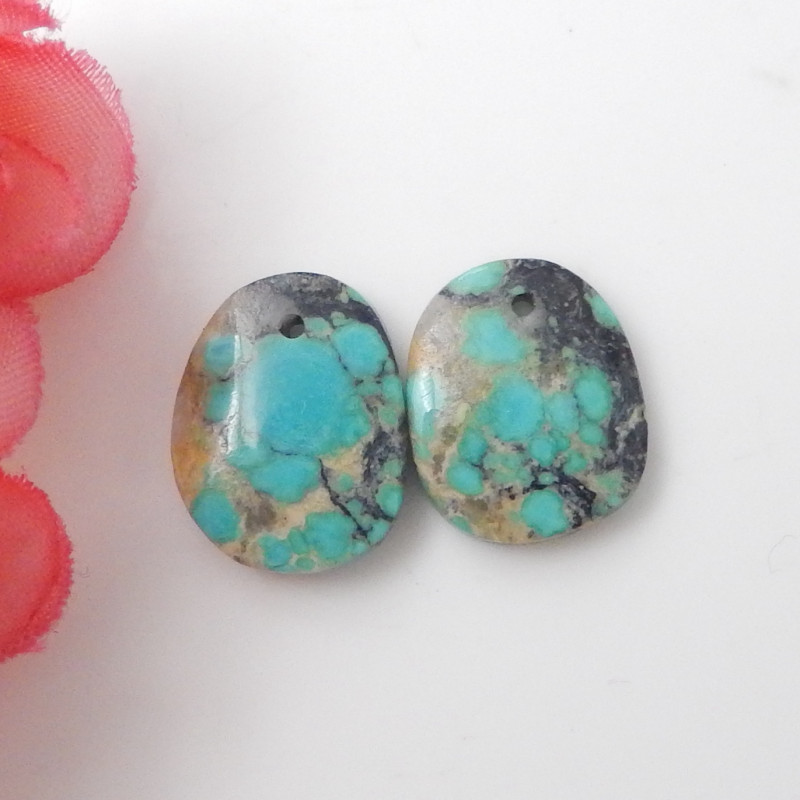 9.5cts Nugget Turquoise Earrings,Handmade Gemstone ,Turquoise Earrings ,Luc