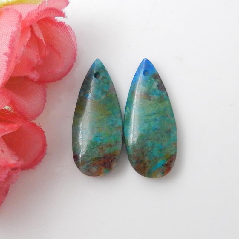 17cts Chrysocolla earrings ,teardrop earrings ,Designer Making F621