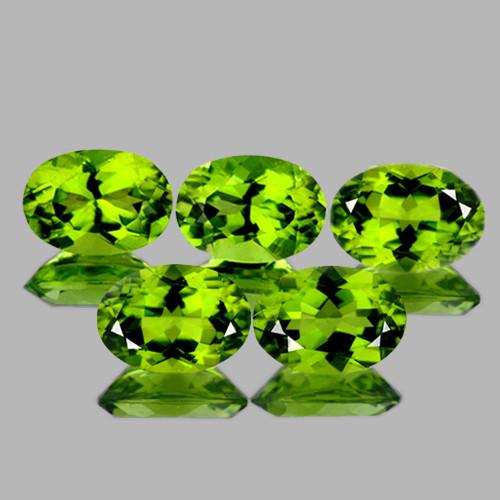 7x5 mm Oval 5 pcs 4.00cts Green Peridot [VVS]