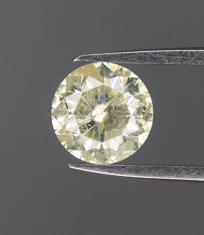 0.40 cts , Fancy Light Yellow Diamond , Brilliant Cut
