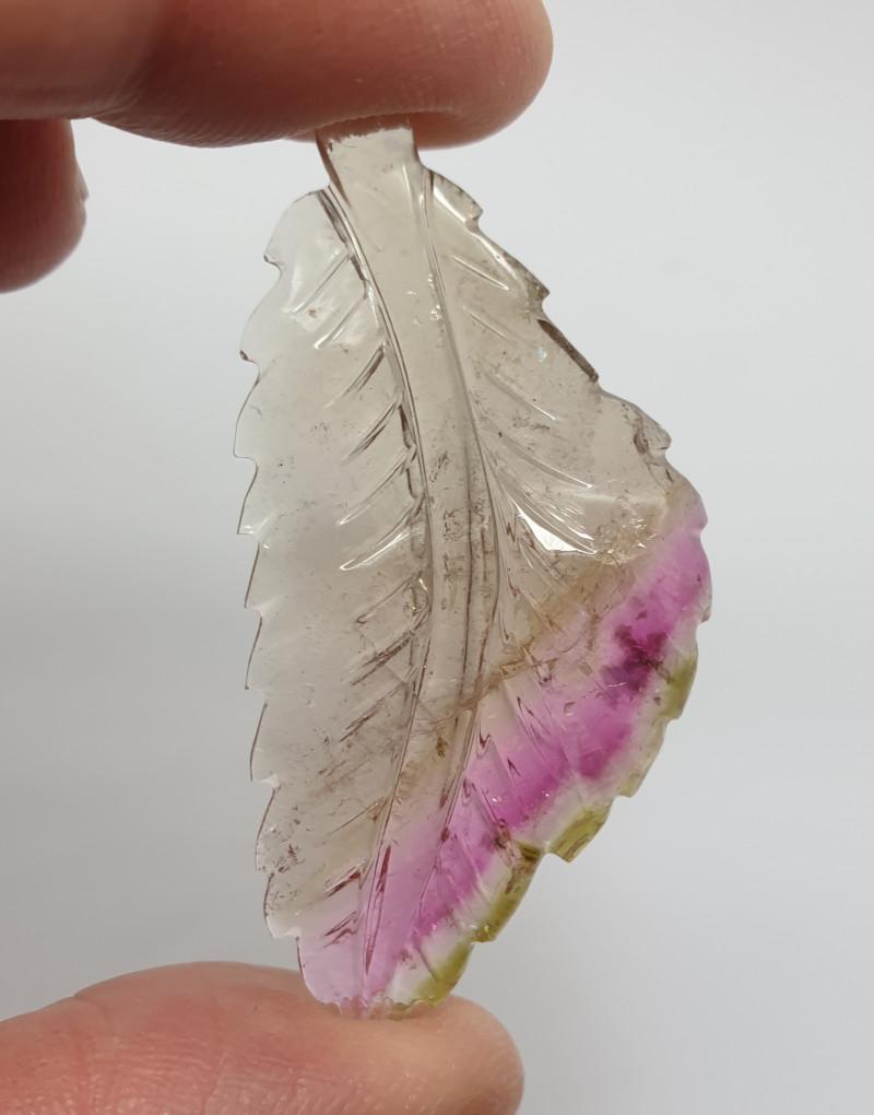 32.57 ct Carved  Watermelon Tourmaline Leaf  50.9x34.2mm(SKU160)