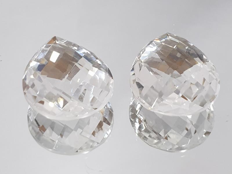 23.16 ct 1 pair Rock Crystal Quartz Faceted Drop 20x15mm Briolette Cut(SKU1
