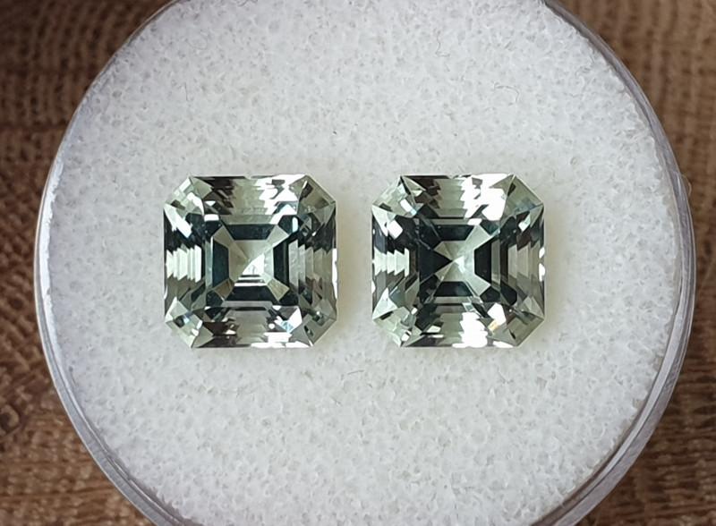 7,60ct Prasiolite pair - Asccher cut!