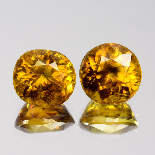 5.04 Cts Natural Honey Yellow Sphene 2Pcs Oval & Round Cut Russia