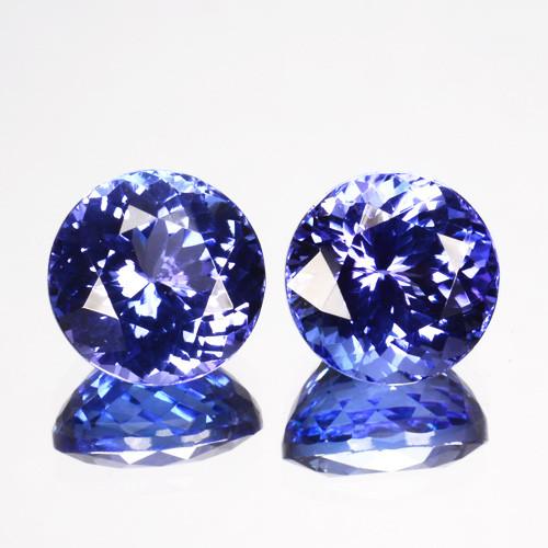 ~PAIR~ 3.62 Cts Natural Tanzanite Purple Blue 7mm Round 2Pcs Tanzania