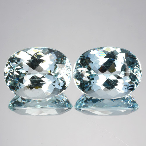 ~PAIR~ 13.85 Natural Nice Blue Aquamarine 2Pcs Oval Cut Brazil