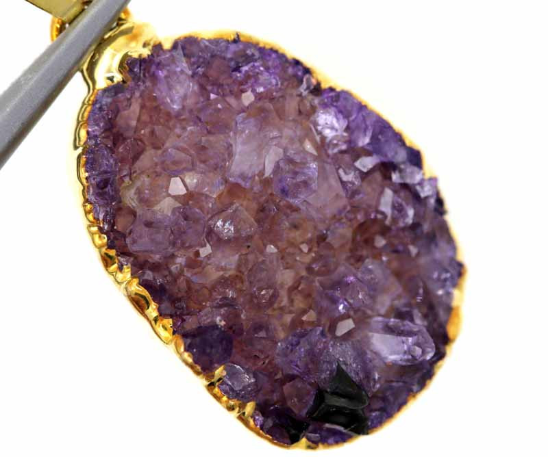 17 CTS AMETHYST CRYSTAL GOLD PLATED PENDANT SG-3103