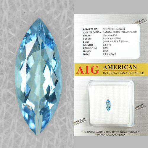 AIG Certified 0.62 Cts. UN HEATED  SKY BLUE COLOR NATURAL AQUAMARINE LOOSE