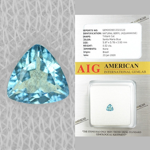AIG CERTIFIED 0.52 Cts. UN HEATED  SKY BLUE COLOR NATURAL AQUAMARINE LOOSE