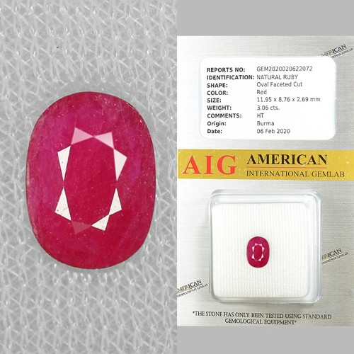 AIG CERTIFIED 3.06 Cts NATURAL RED RUBY LOOSE GEMSTONE