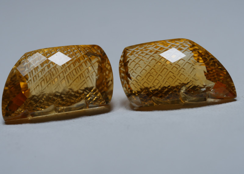 16.0crt BEAUTY PAIR YELLOW CITRINE CARVING -