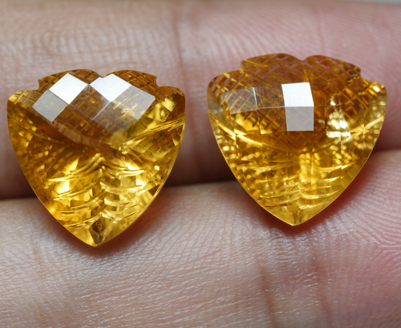 14.5CRT BEAUTY PAIR YELLOW CITRINE CARVING -
