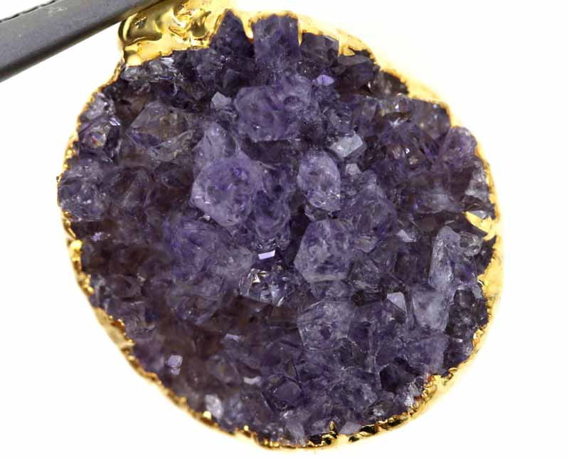 17.60 CTS AMETHYST CRYSTAL GOLD PLATED PENDANT SG-3117