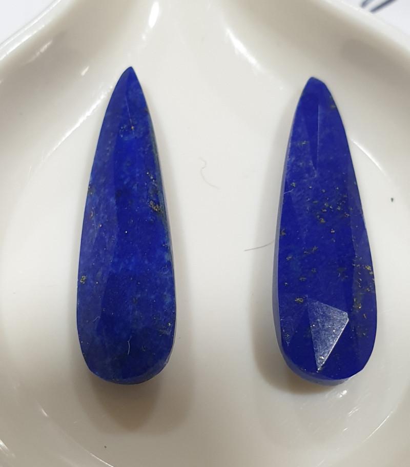 1 Pair Lapis Lazuli  Faceted Drop 21x6mm 6.72ct(SKU171)