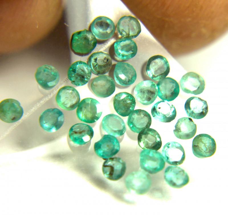 1.63 Tcw. Natural Emerald Accents - 2.3mm -  30 Pcs.