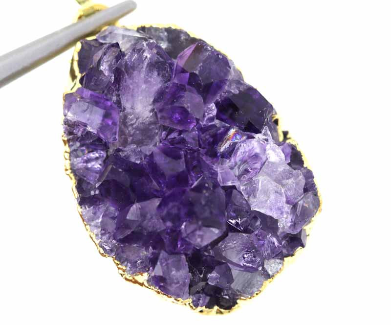 47CTS AMETHYST CRYSTAL GOLD PLATED PENDANT SG-3129