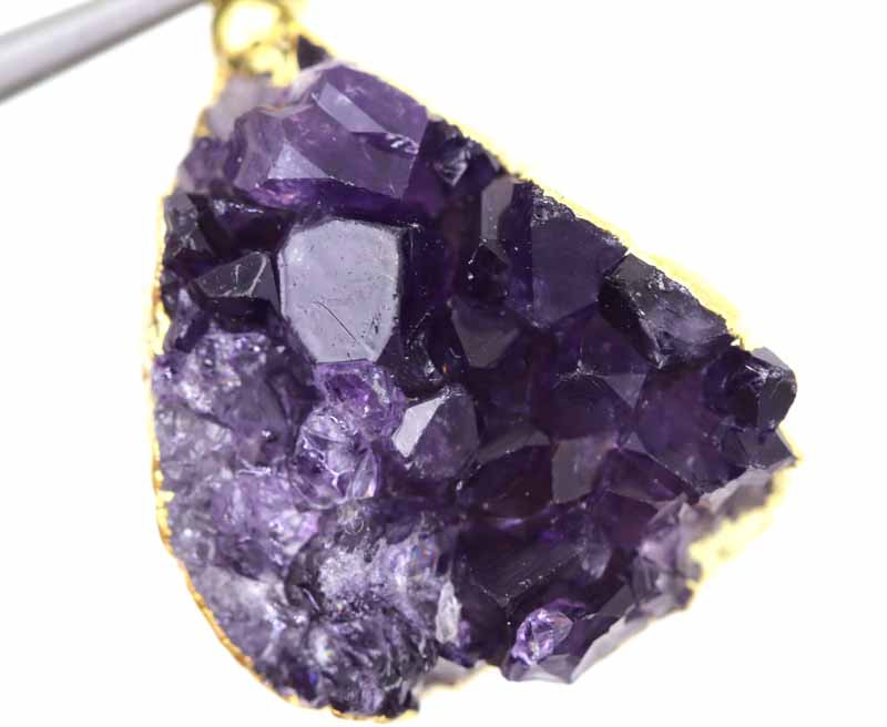 43CTS AMETHYST CRYSTAL GOLD PLATED PENDANT SG-3135