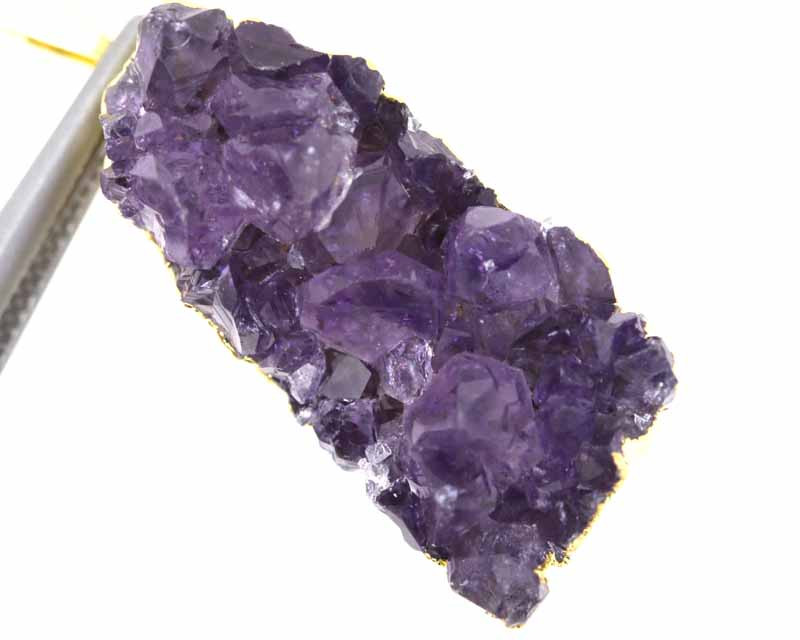 44CTS AMETHYST CRYSTAL GOLD PLATED PENDANT SG-3146