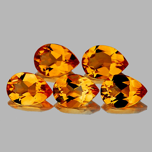 9x6 mm Pear 5 pcs 5.97cts Golden Orange Citrine [VVS]