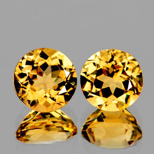 9.00 mm Round 2 pcs 5.03cts Golden Yellow Citrine [VVS}