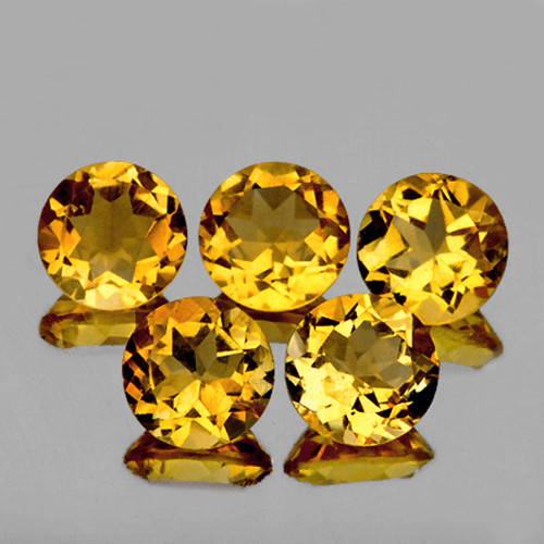 7.00 mm Round 5 pcs 6.10cts Golden Yellow Citrine [VVS]