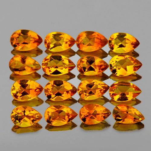 5x3 mm Pear 16 pcs 3.13cts Intense Golden Yellow Citrine [VVS]