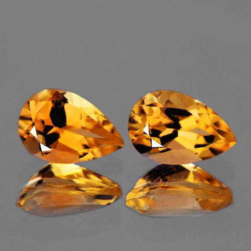 9x6 mm Pear 2 pcs 2.17cts Golden Yellow Citrine [VVS]